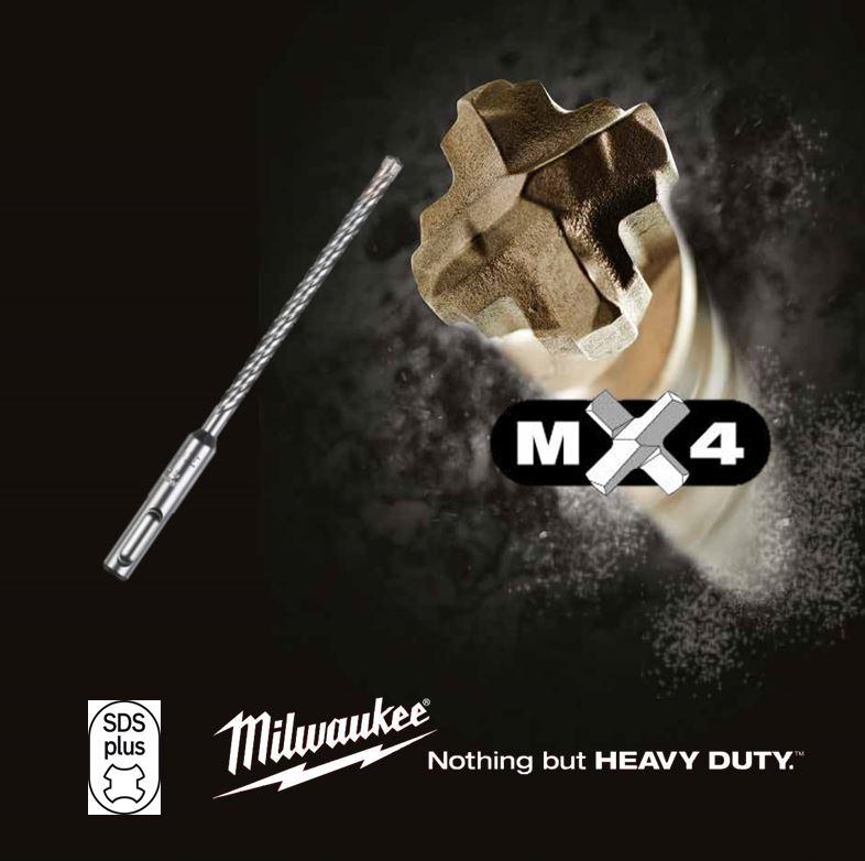 PUNTA PROFESSIONALE IN CARBURO 4 TAGLIENTI MILWAUKEE - MX4 SDS-PLUS