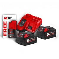 M18 NRG-502 - ENERGY PACK 2 BATTERIE DA 5,0AH M18 + 1 BATTERIA M12 OMAGGIO - MILWAUKEE_4002395287925