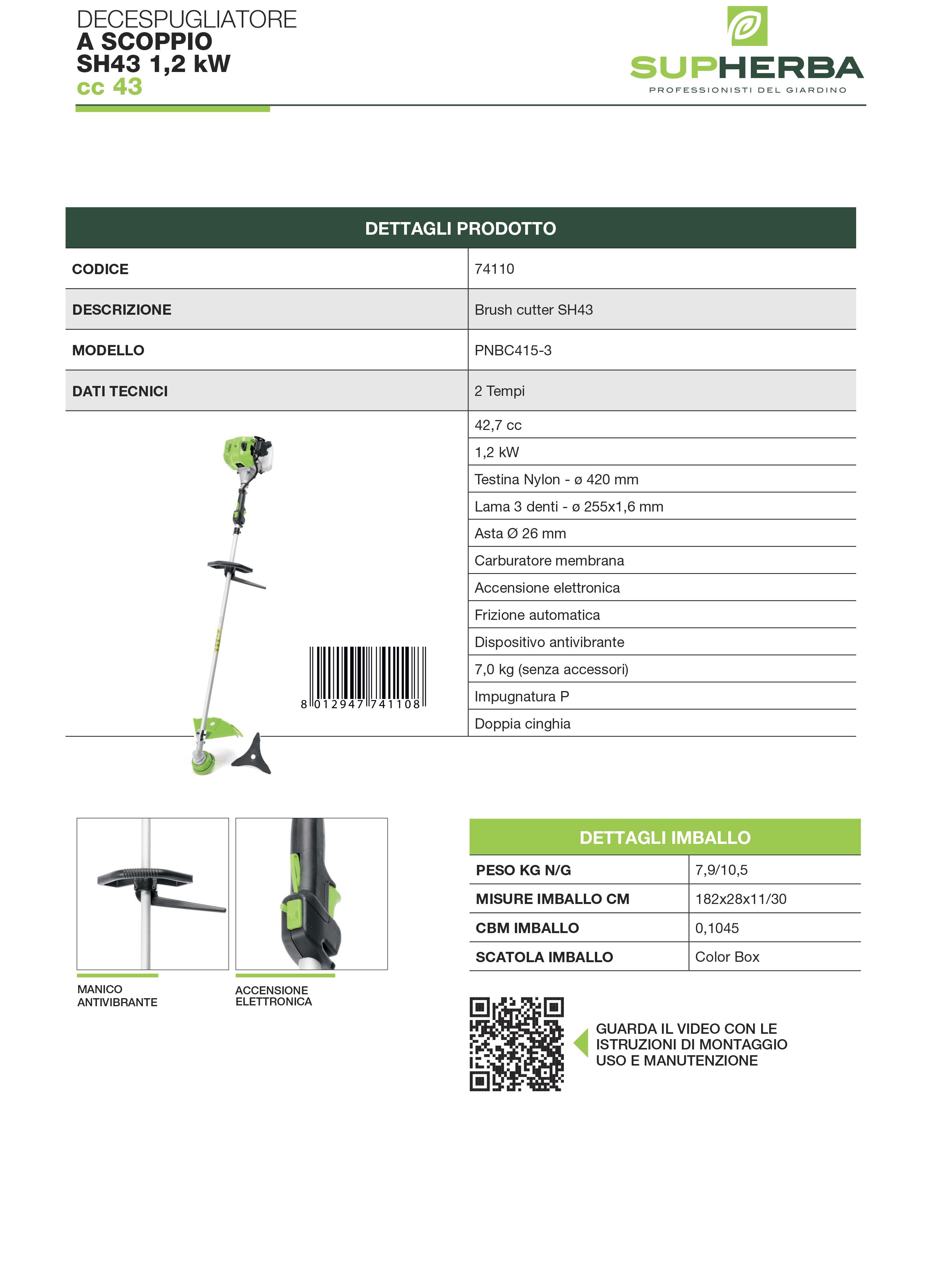 DECESPUGLIATORE SH43 2T 42,7cc 1,20kW  7,2kg - SUPHERBA 8012947741108 prodottiferramenta