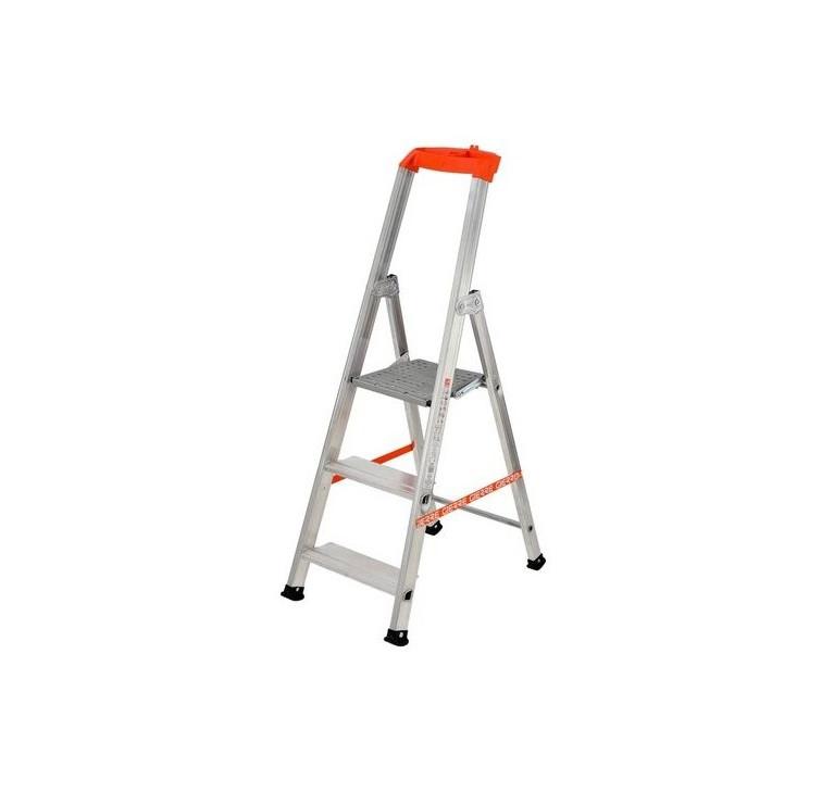 bigmat scala professionale leggera a 3 gradini in alluminio e acciaio zincato, piedini antiscivolo e portata 150kg - gierre